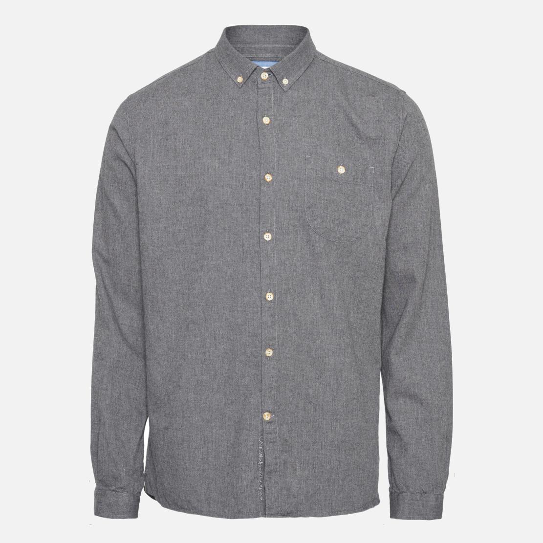 Lått borstad flanellskjorta i 100% ekologisk bomull. Mörkgrå melerad