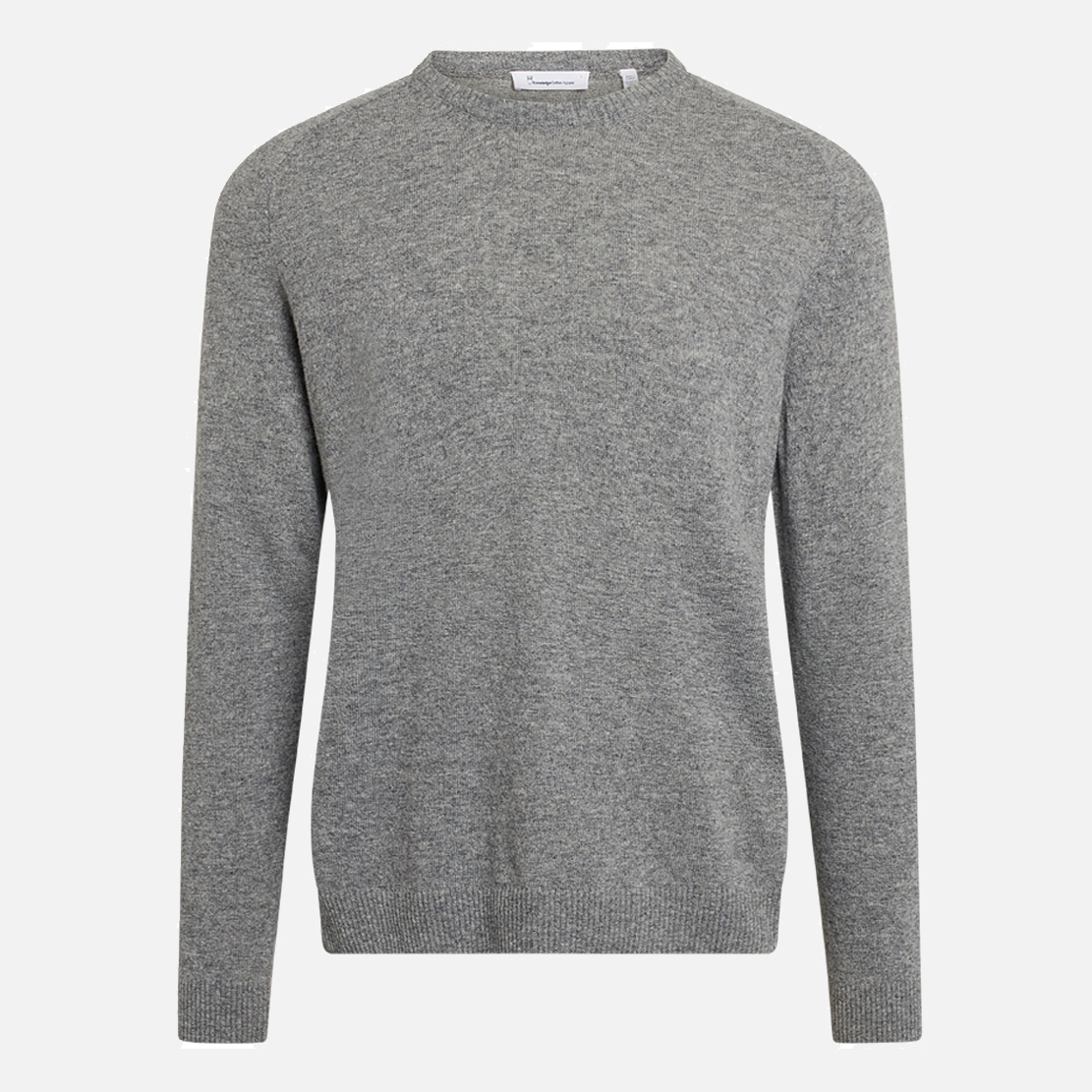 Stickad tröja i 100% ekologisk lammull. Field O-Neck Knowledge Cotton Apparel.