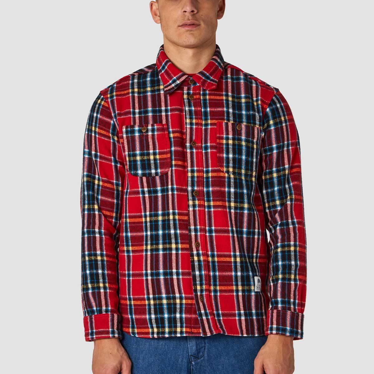 juntoku röd flannelskjorta herr rutig ekologisk bomull