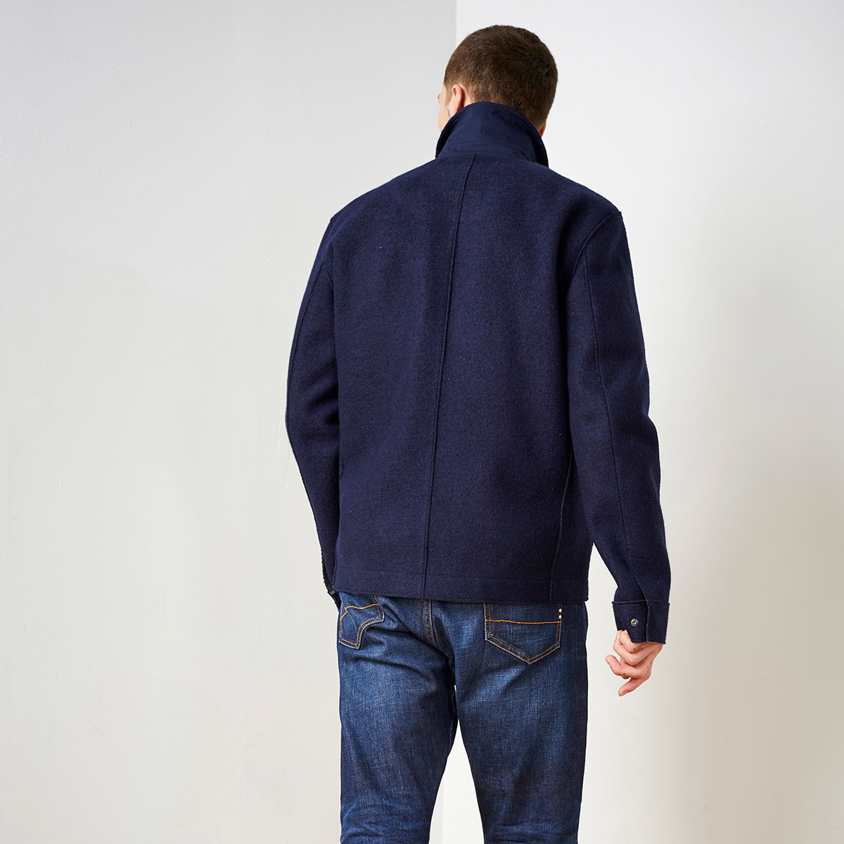 Clent Organic Wool Jacket Navy LANGERCHEN