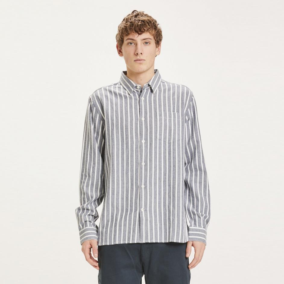 LARCH striped heavy flannel shirt
