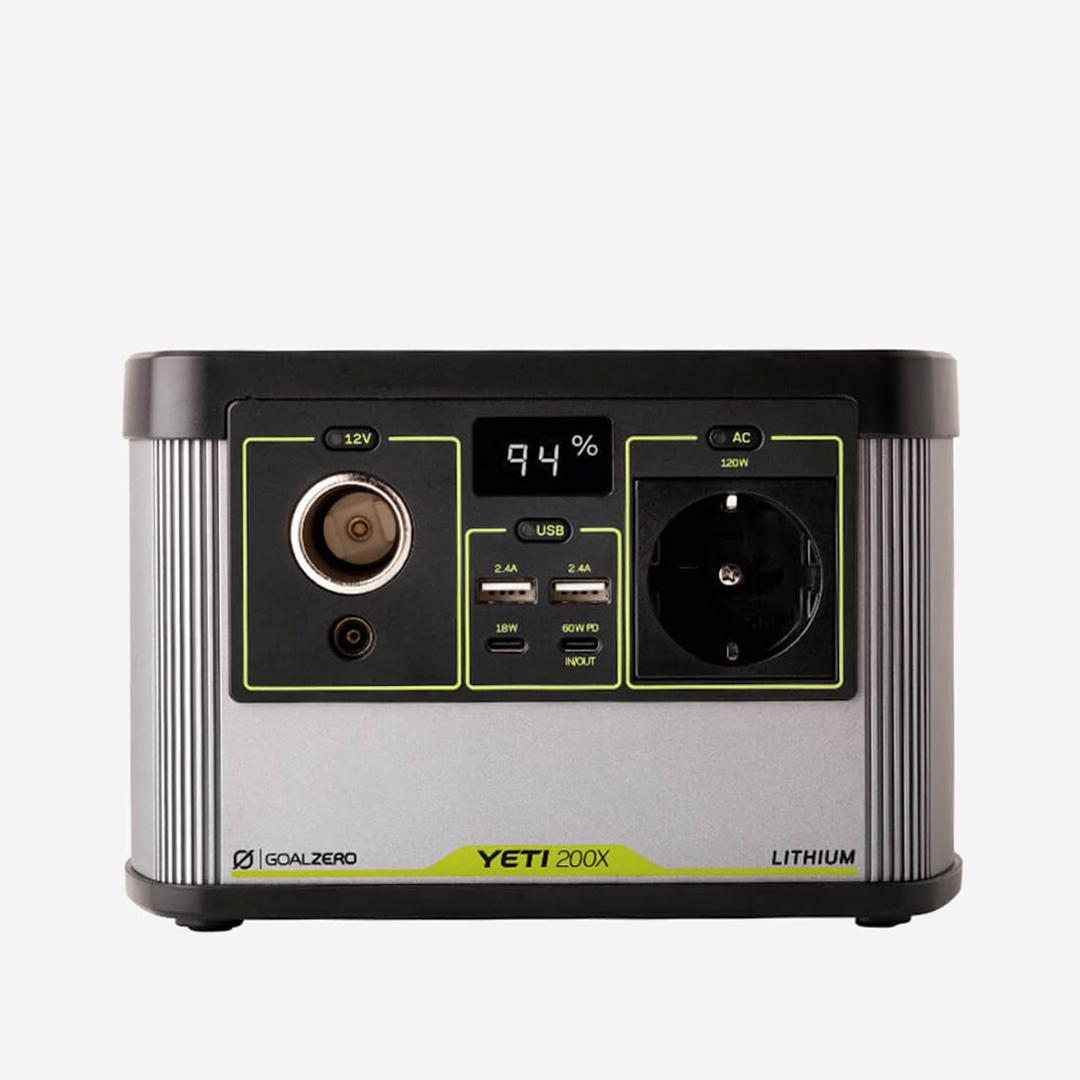 Yeti 200X portabelt batteri med allt från USB, USB-C, 12V & 220V utgångar.