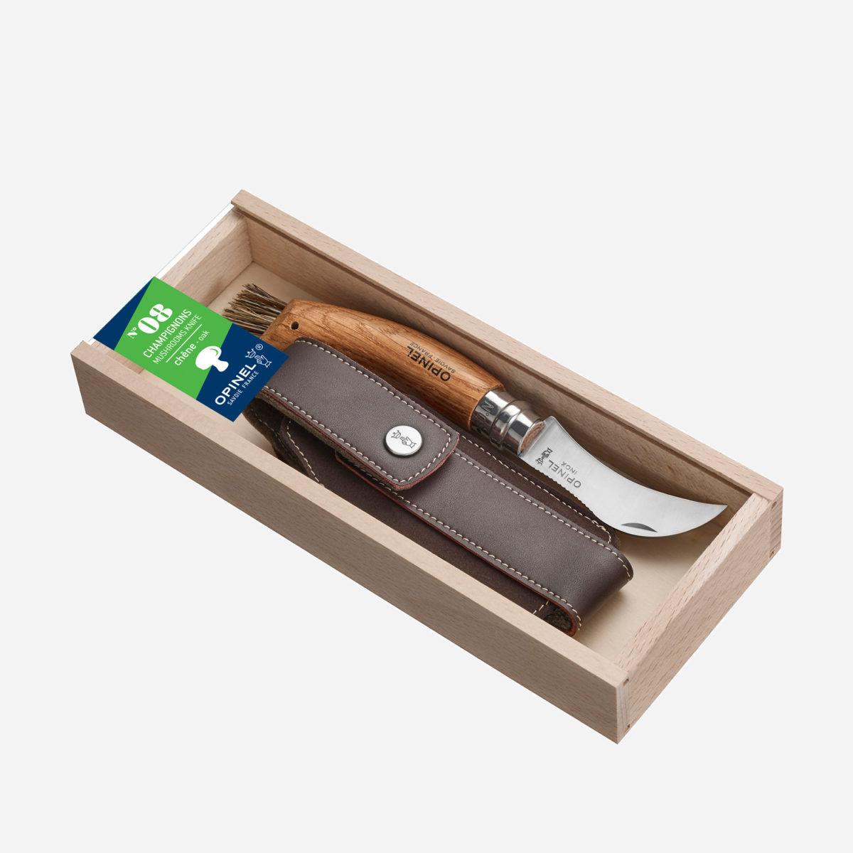 Presentbox med svampkniv & fodral i äkta skinn.