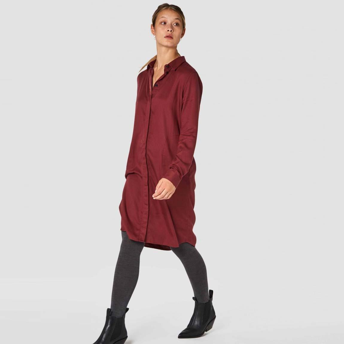 klänning röd tencel priscilla
