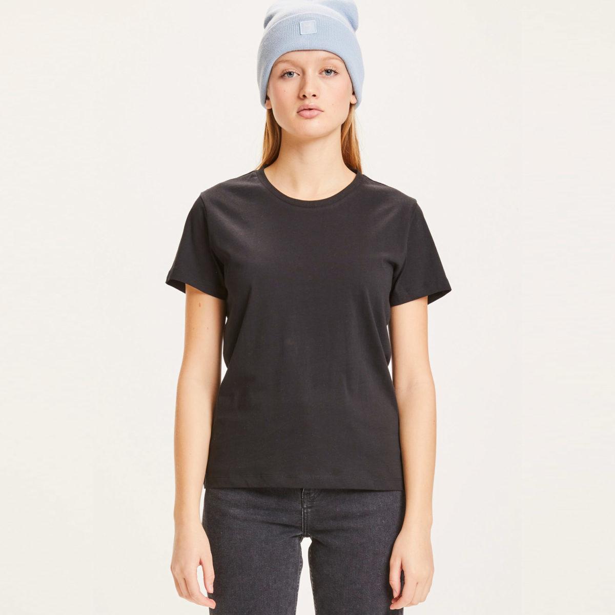 T-shirt svarta dam i 100% ekologisk bomull